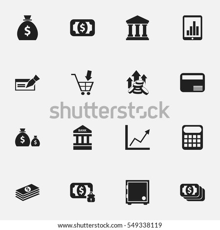 Set Of 16 Editable Investment Icons. Includes Symbols Such As Bar Graph, Currency, Crate And More. Can Be Used For Web, Mobile, UI And Infographic Design.