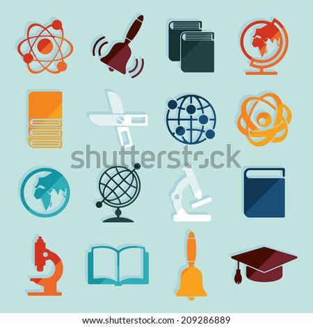 Set of education icons - stock photo