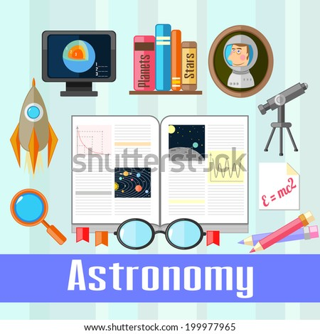 Set of educational icons for studying astronomy - stock photo