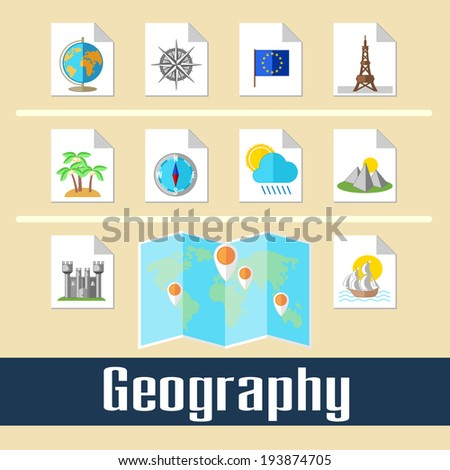 Set of educational icons for studying geography and travel - stock photo