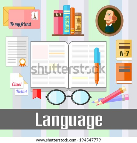 Set of educational icons for studying language - stock photo