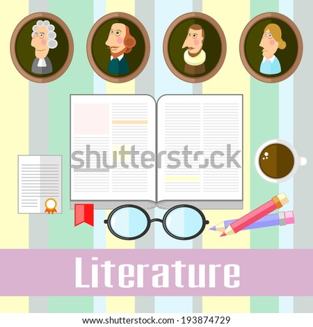 Set of educational icons for studying literature - stock photo
