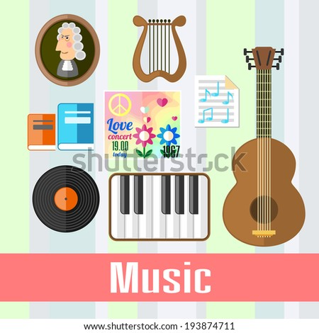 Set of educational icons for studying music - stock photo