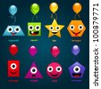 Set of educational shapes with party balloons. - stock photo