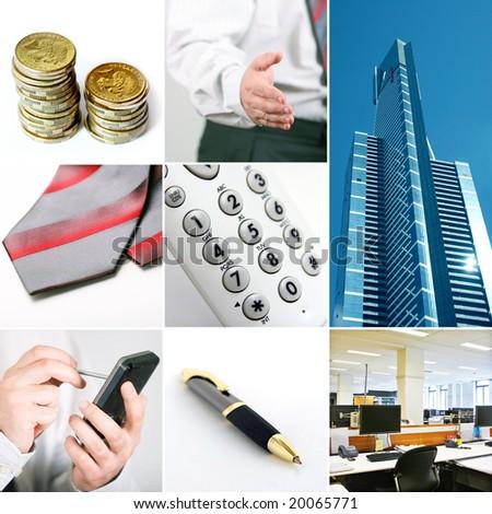 Set of eight business photos - stock photo