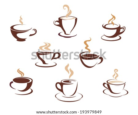 Set of eight different steaming cups of hot beverages such a coffee, tea or hot chocolate in cups and mugs logo. Vector version also available in gallery - stock photo