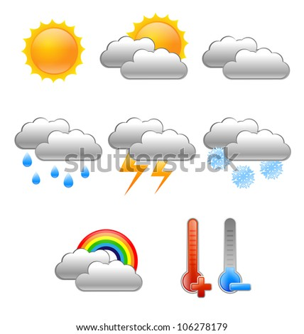 set of eight meteorology symbols - RASTER VERSION - stock photo