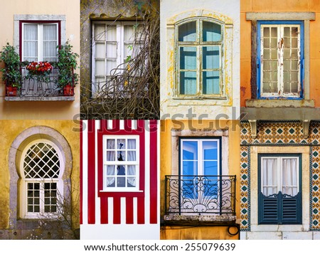 Set of eight old and traditional portuguese windows - stock photo