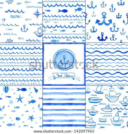 Set of eight watercolor nautical seamless patterns. Sea decorative elements. - stock photo