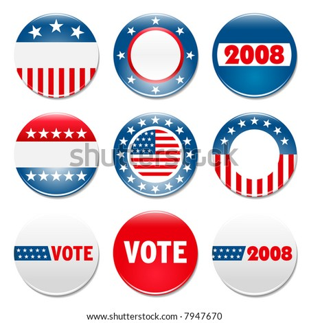 Set of 9 election campaign badges - stock photo