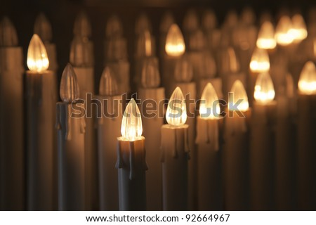 Set of electric votive candles - stock photo