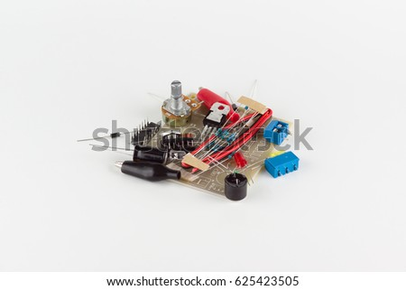 Set of electrical details on white background
