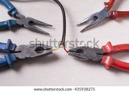 Set of electrical tool. Accessories for engineering work, energy concept - stock photo