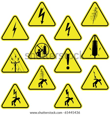 Set of electricity sign symbols isolated on white - stock photo