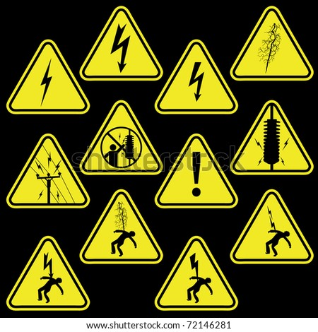 Set of electricity signs symbols isolated on black - stock photo