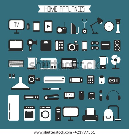 Set of electronic devices and home appliances colorful icons in flat style. Template  elements for web and mobile applications.