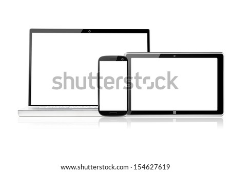 set of electronic devices with blank screens, isolated on white background - stock photo