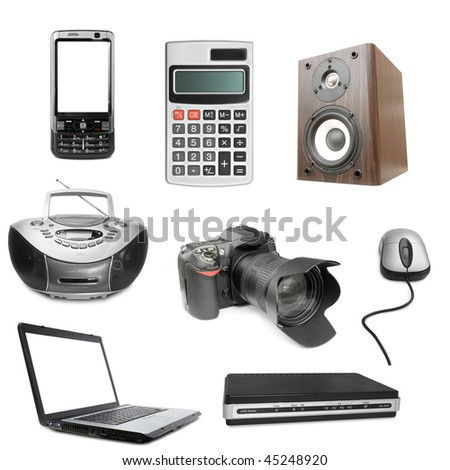 set of electronic object isolated on white background - stock photo