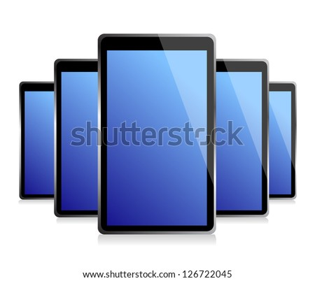 set of electronic Tablets illustration design over a white background