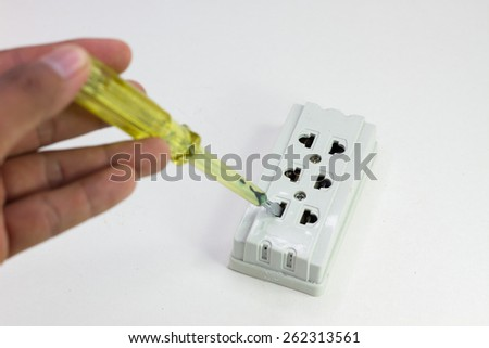 Set of electronic tools components and scheme on white background - stock photo