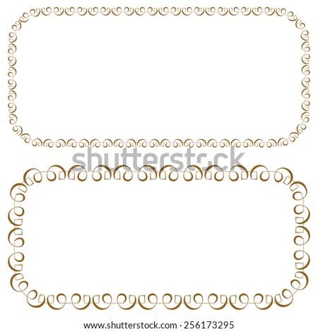 set of elegant rectangular beautiful frames - stock photo