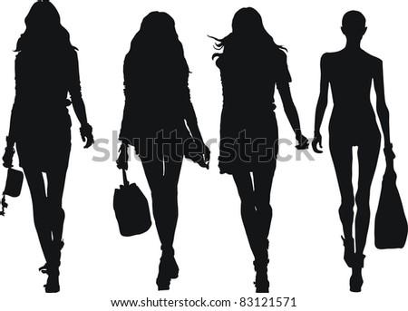 set of elegant, stylized fashion models figure - stock photo