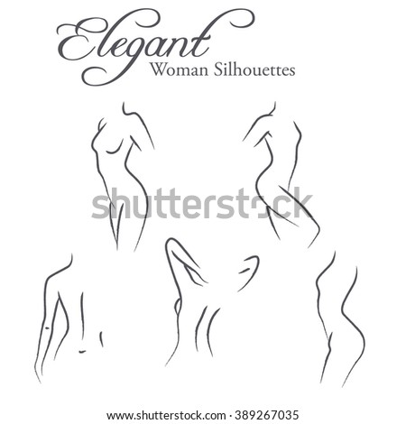 Set of elegant woman silhouettes in a linear sketch style (intimate hygiene, woman health, skin and body care, diet, fitness etc.) - stock photo