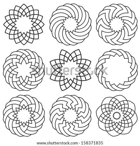 Set of elements for arabic design.Raster version - stock photo