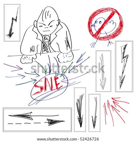 Set of elements for design. Arrow Doodles. - stock photo