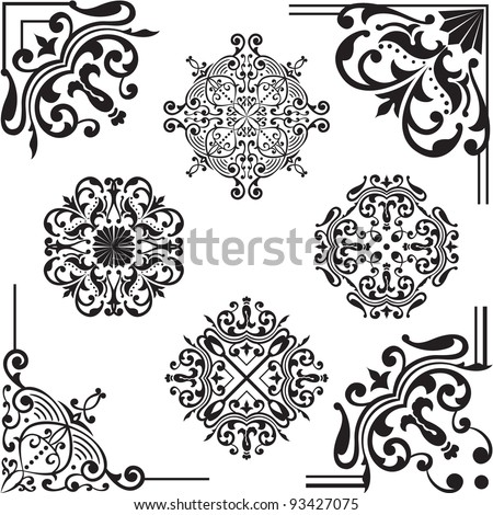 Set of elements for design on white - stock photo