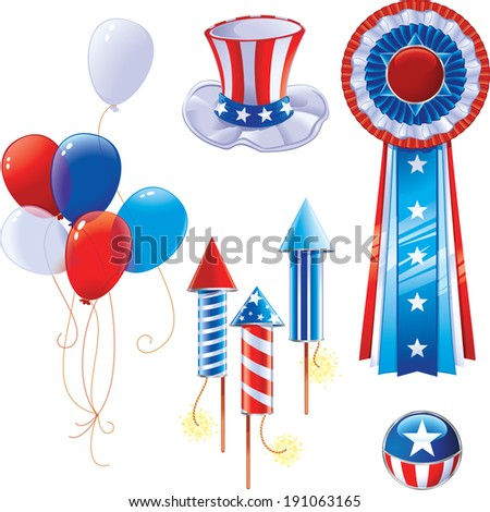 Set of Elements related to American patriotism - stock photo