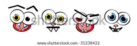 Set of emotion faces - stock photo