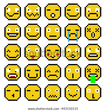 SET OF EMOTIONS SET OF EMOJI SMILE ICONS SMILE PIXEL SMILE RETRO YELLOW - stock photo