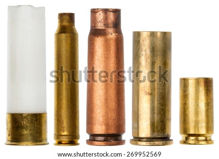Set of empty bullet cartridges isolated on white background - stock photo