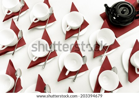 set of empty cups fo tea on the table - stock photo
