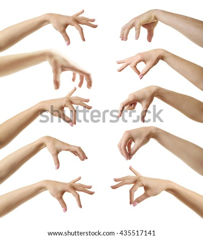 Set of empty different hands to grab objects, isolated on white - stock photo