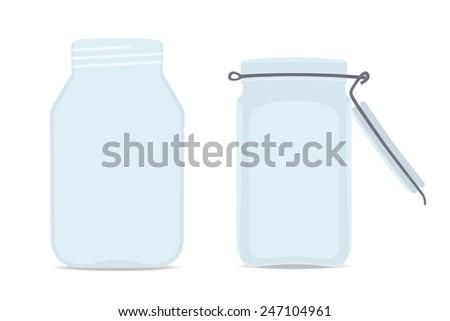 Set of Empty glass jars. Isolated on white background, Illustration - stock photo