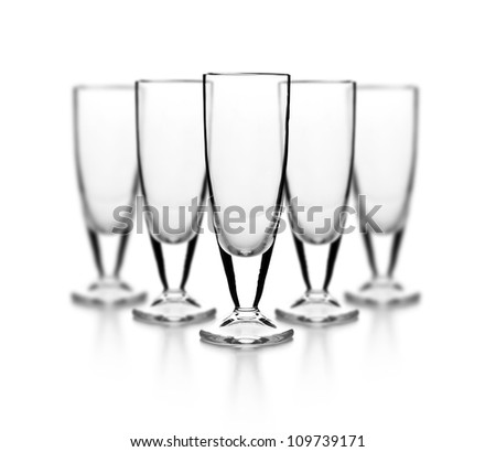 Set of empty glass on white background