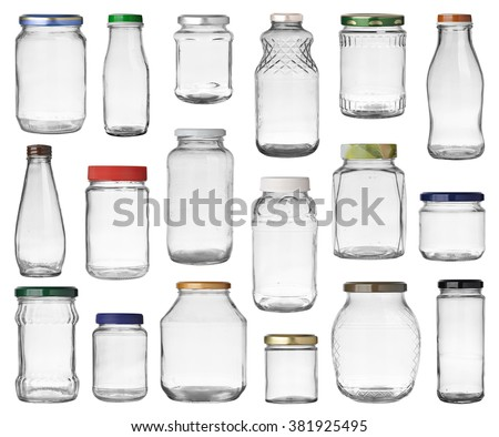 Set of empty jars with caps isolated on white background - stock photo