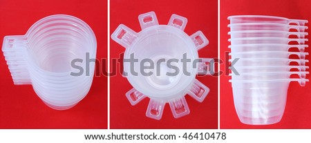 set of empty plastic coffee cup on red background - stock photo
