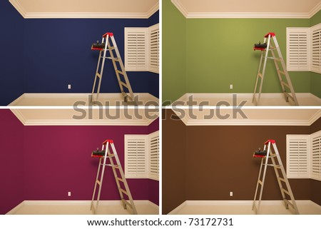 Set of Empty Rooms Painted in Variety of Colors with Ladder, Rollers and Tray. - stock photo