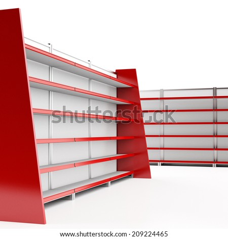 set of empty supermarket shelves in perspective. render