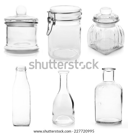 Set of empty various glassware isolated on white background. - stock photo