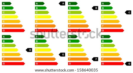 Set of energy efficency scale from dark green A to red G in white background