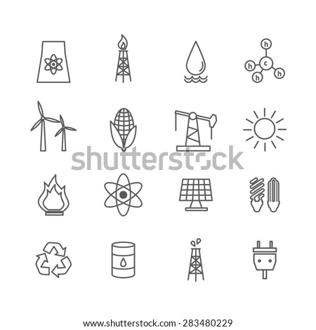 Set of energy icons in art line style. Electricity water and wind, solar and oil, gas and nuclear - stock photo