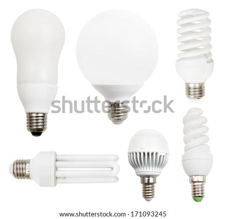 set of energy-saving compact fluorescent, LED light bulbs isolated on white background - stock photo