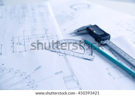 Set of engineering drawings closeup