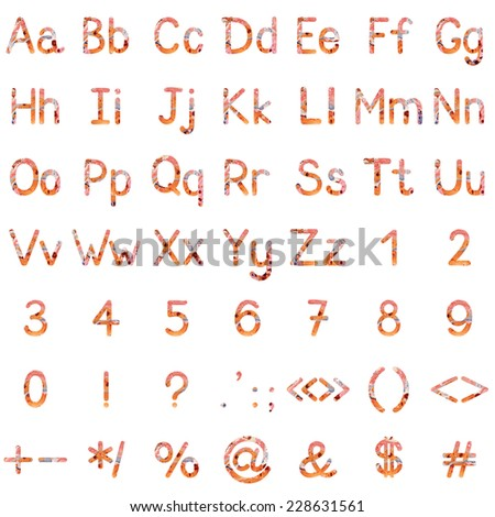 Set of English letters, numbers and mathematical signs with oil painting pattern - stock photo