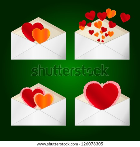 Set of envelopes to Valentine's Day. Vector illustration on green background