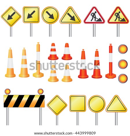 Set of equipment for road work on the white background.